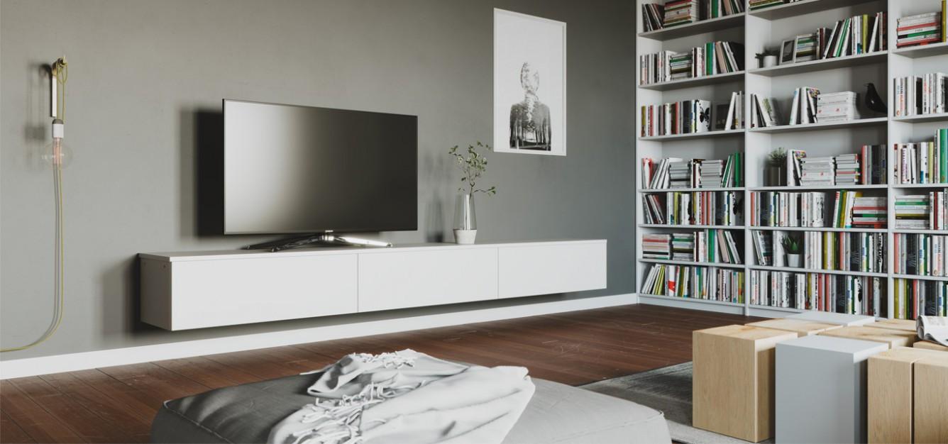 Meuble Tv Angle Suspendu meuble tv sur-mesure : le rangement pratique | centimetre