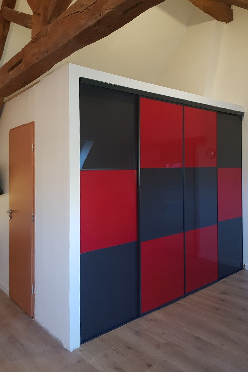 4 portes  coulissantes Gloss vermillon/anthracite - 1/2