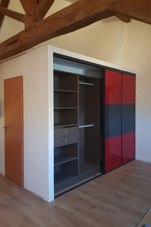 4 portes  coulissantes Gloss vermillon/anthracite - 2/2