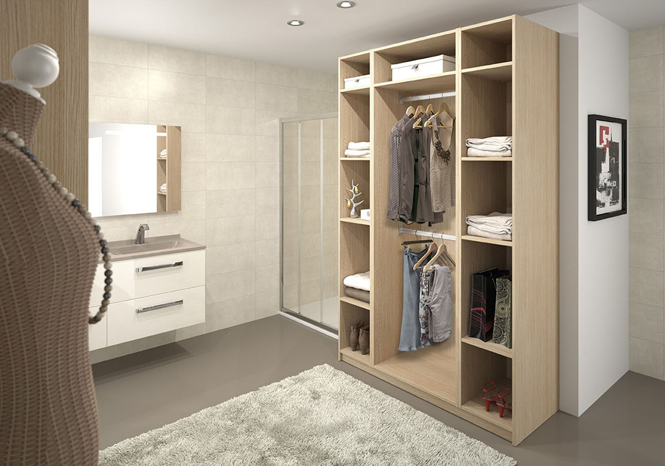 armoire colonne de salle de bain sur mesure. Black Bedroom Furniture Sets. Home Design Ideas