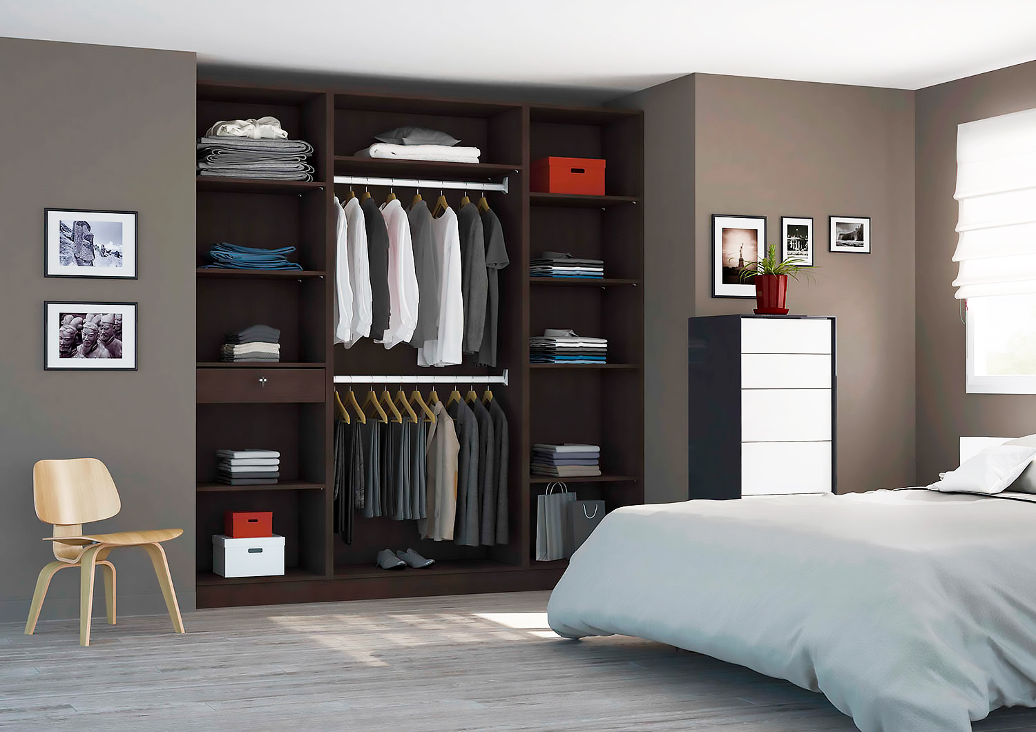 faire un dressing dans un placard amazing full size of design duintrieur de maison chambre avec. Black Bedroom Furniture Sets. Home Design Ideas