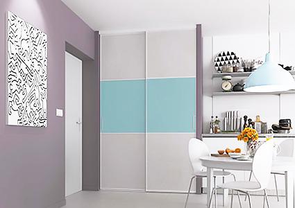 Porte de placard coulissante sur mesure pas ch re - Adhesif pour porte de placard cuisine ...