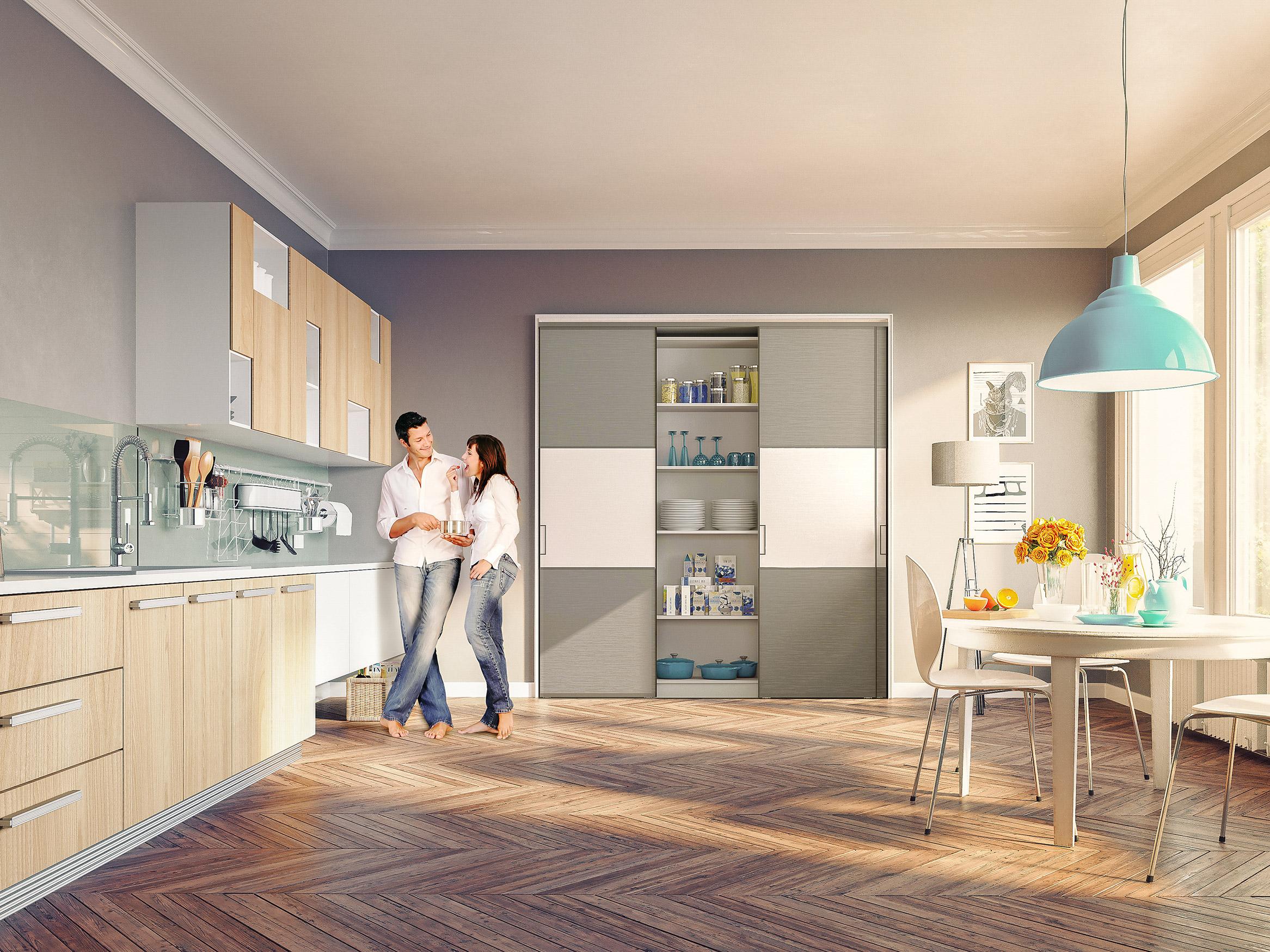 Porte de placard coulissante sur mesure pas ch re for Modele de placard de cuisine