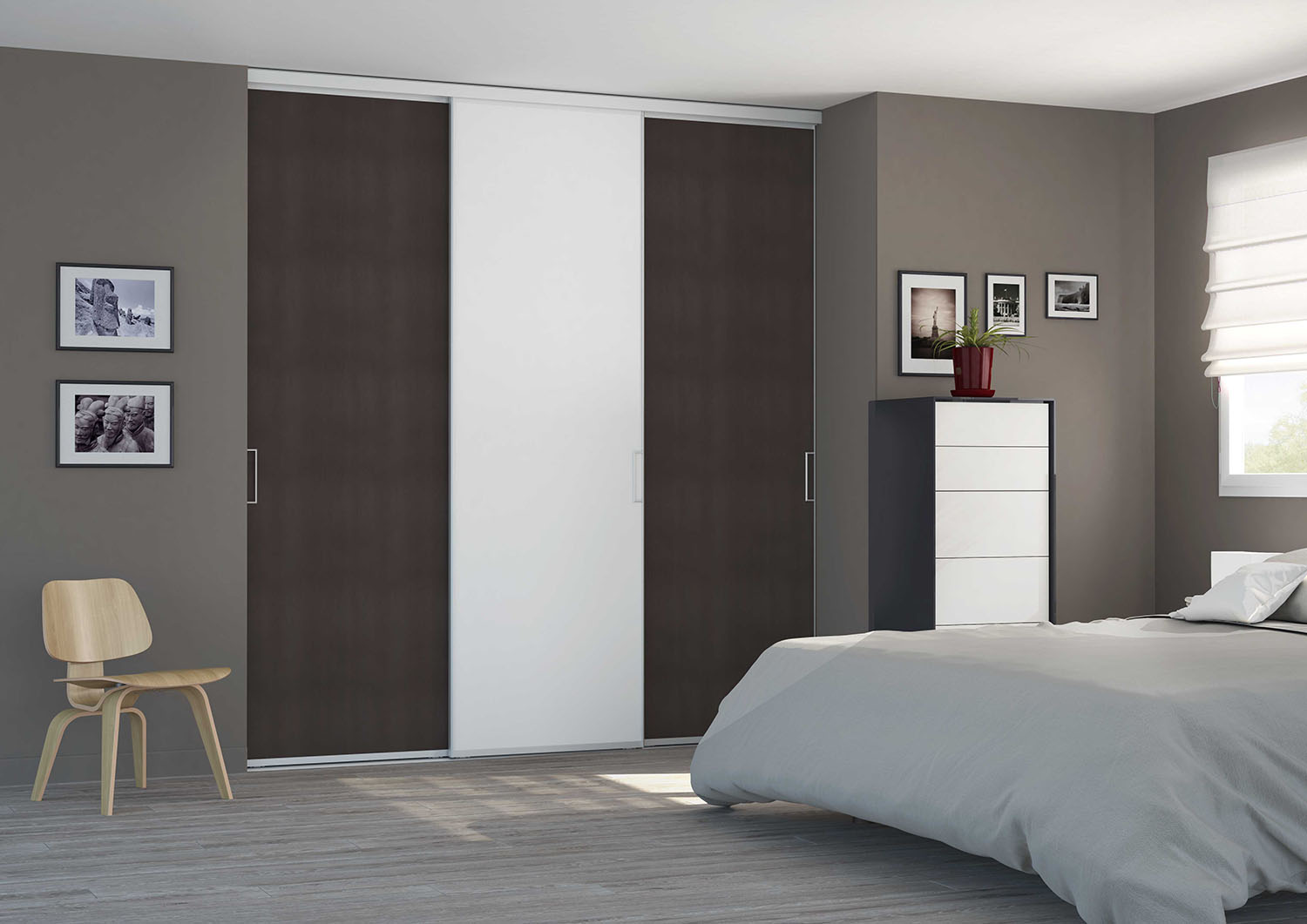 portes de placard coulissantes de chambre sur mesure. Black Bedroom Furniture Sets. Home Design Ideas